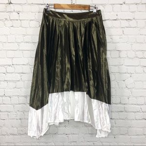 English Factory Pleated Olive Green White Skirt
